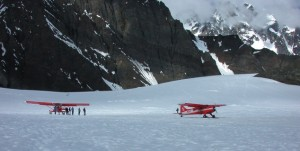 "A  ""sound station"" on the Ruth Glacier is monitoring the noise level of aircraft landing on the glacier. NPS Photo."