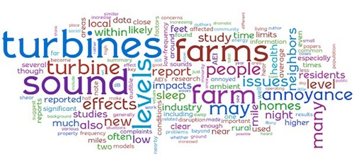 """Quick version"" of AEI's 2009 wind farm report, courtesy of http://Wordle.net"