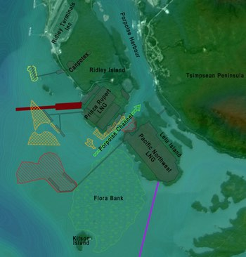 Pacific Northwest LNG and Prince Rupert LNG dredging map -Skeena Wild Conservation Trust Ocean Ecology-850x720